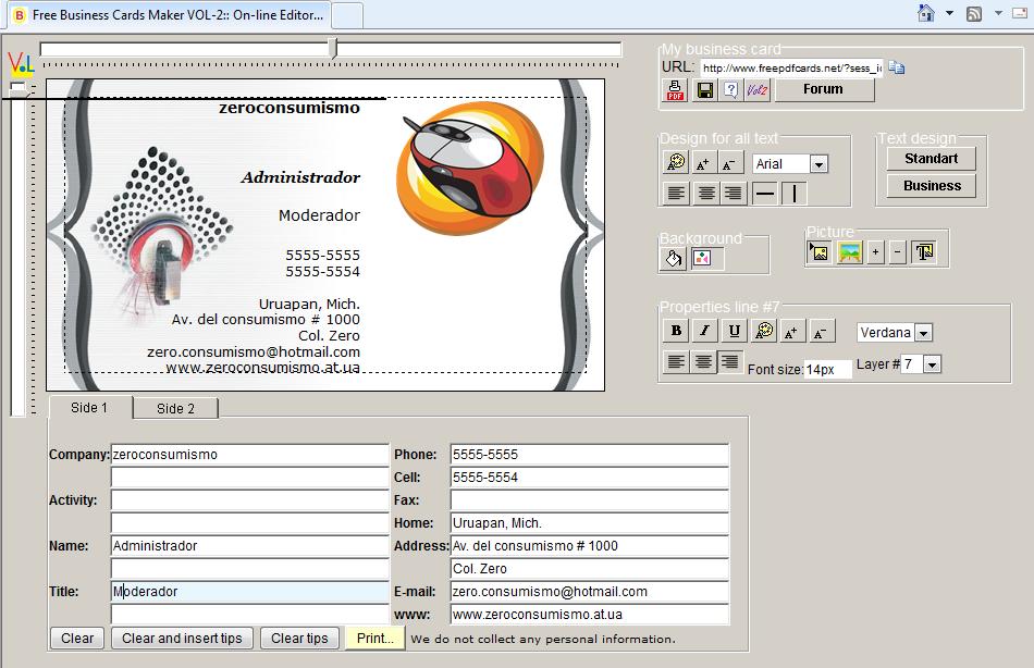 crear tarjetas de presentacion on line 22 de julio 2010 zero